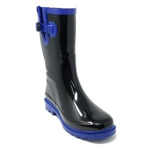 Women Mid Calf Rain Boots, #6044, Black / Blue Rim